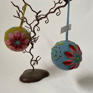 Pair of Handcrafted Hanging Yarn Balls From Peru